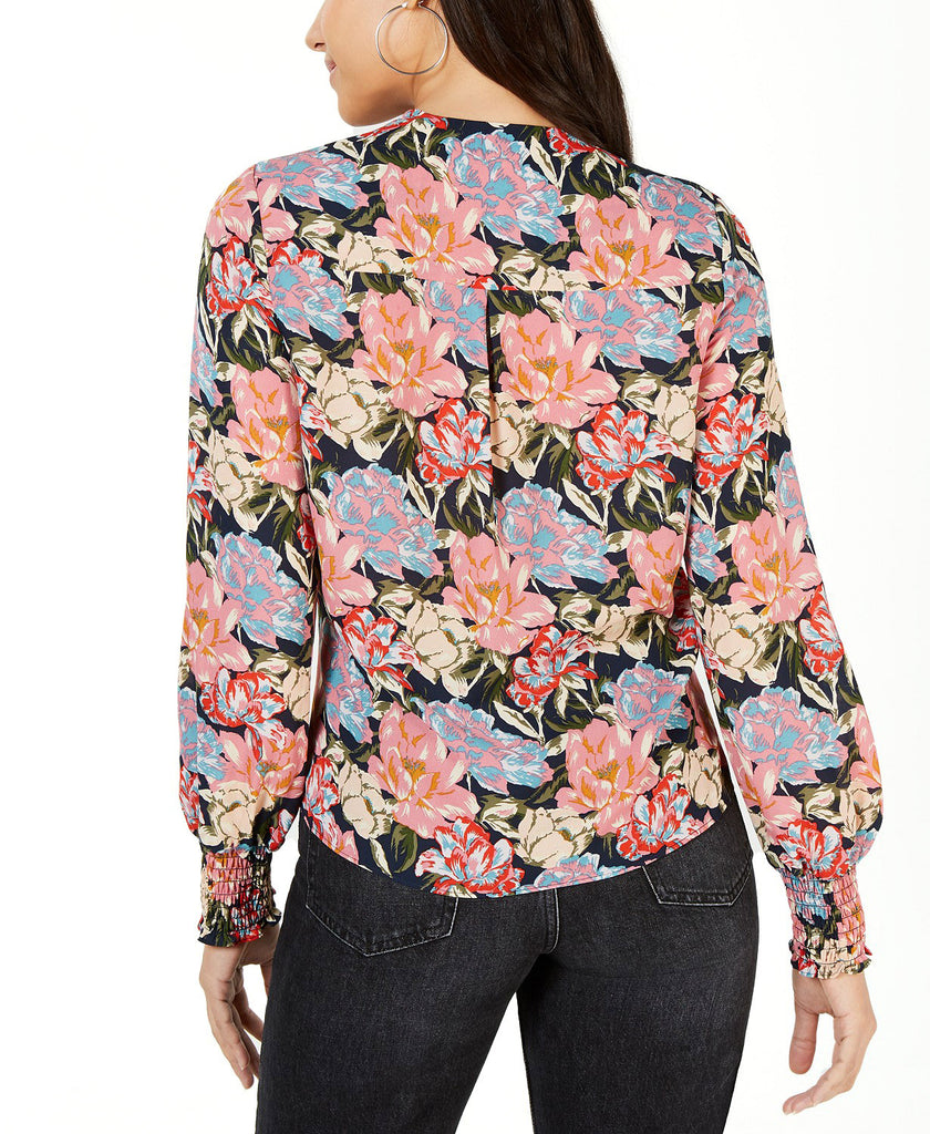 Yieldings Discount Clothing Store's Plunging Twist-Front Top by Leyden in Navy Floral