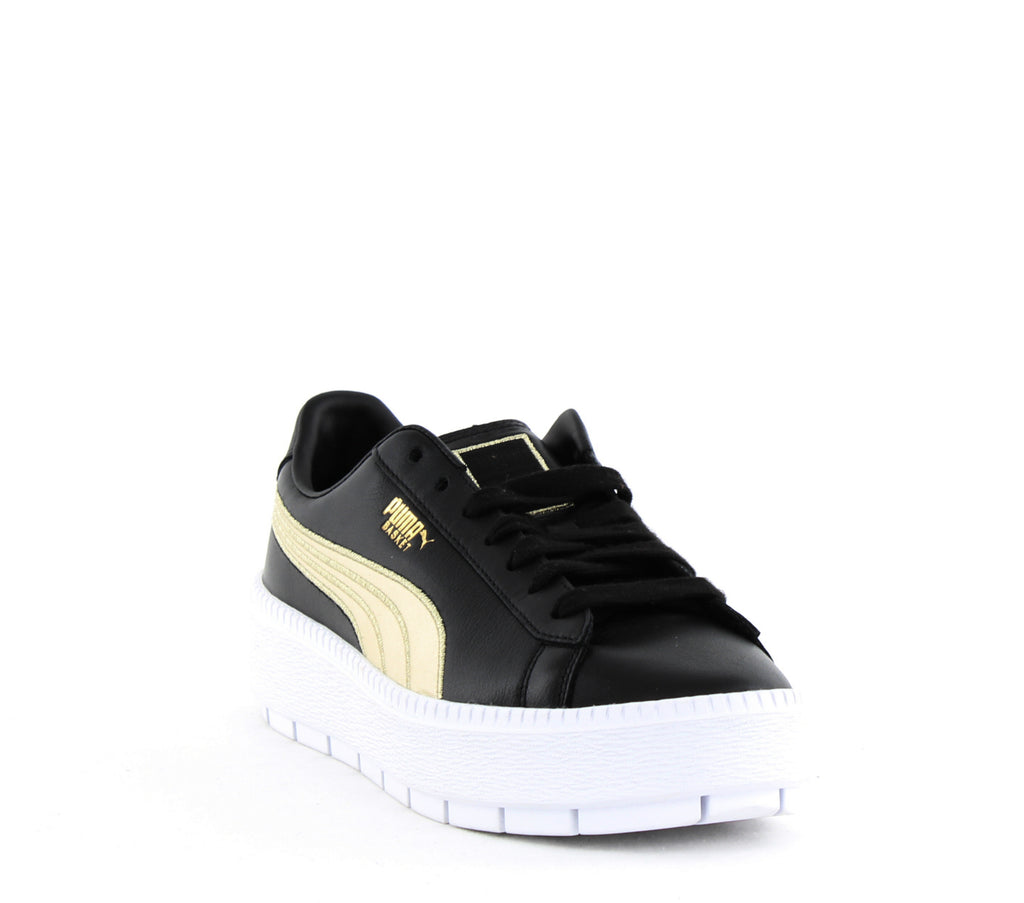 Yieldings Discount Shoes Store's Platform Trace Varsity Sneakers by Puma in Black/Metallic Gold