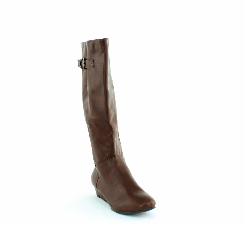 Yieldings Discount Shoes Store's Rainne Wedge Riding Boots by Style & Co in Cognac