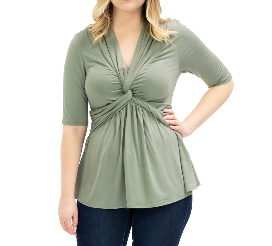Yieldings Discount Clothing Store's Caycee Twist Top by Kiyonna in TYE