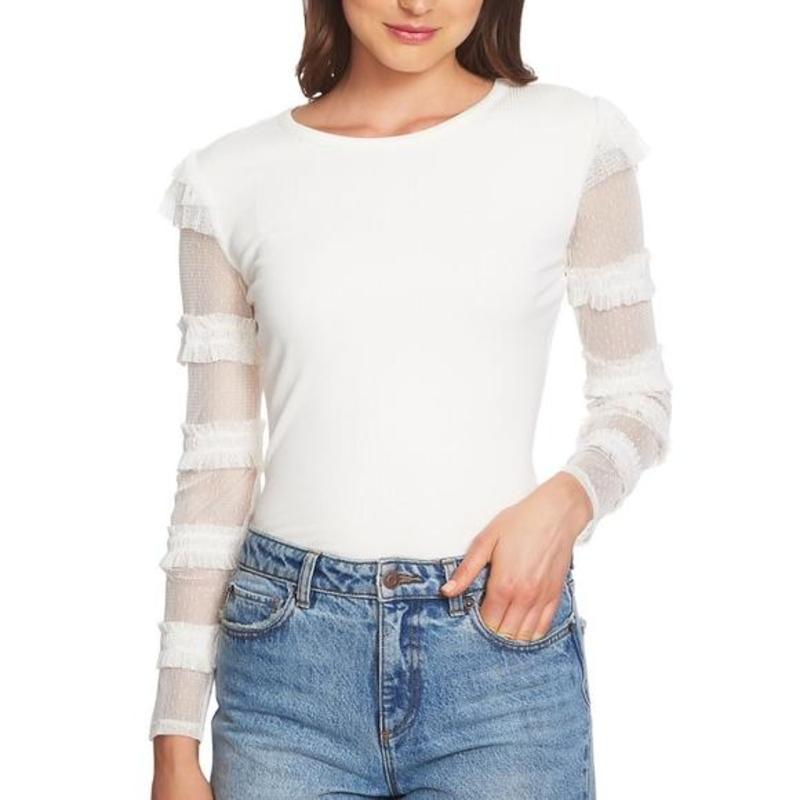 Yieldings Discount Clothing Store's Boy Meets Girl Ruffled Sheer Sleeve Top by 1.State in Soft Ecru