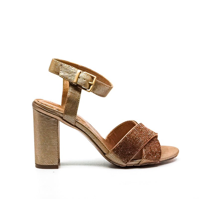Yieldings Discount Shoes Store's Crash Jewel Block Heels by Reaction Kenneth Cole in Rose Gold