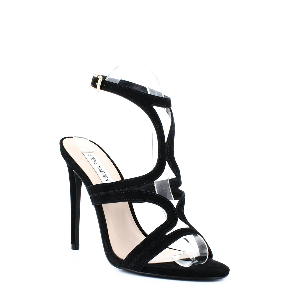 Yieldings Discount Shoes Store's Sidney Dress Sandals by Steve Madden in Black