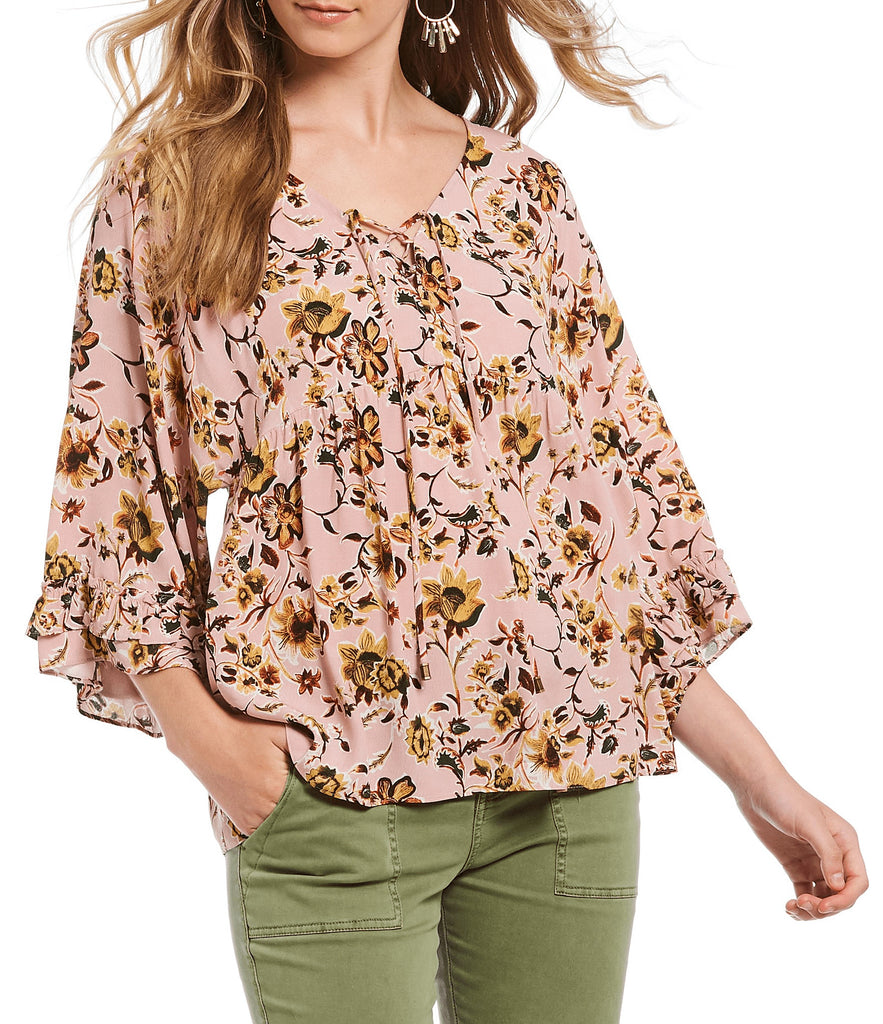 Yieldings Discount Clothing Store's Desert Ruffle Lace Up Blouse by Sanctuary in Pink