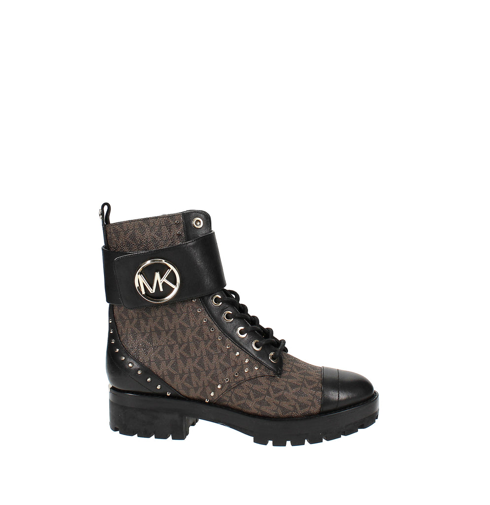 Yieldings Discount Shoes Store's Tatum Ankle Boots by MICHAEL Michael Kors in Brown/Black