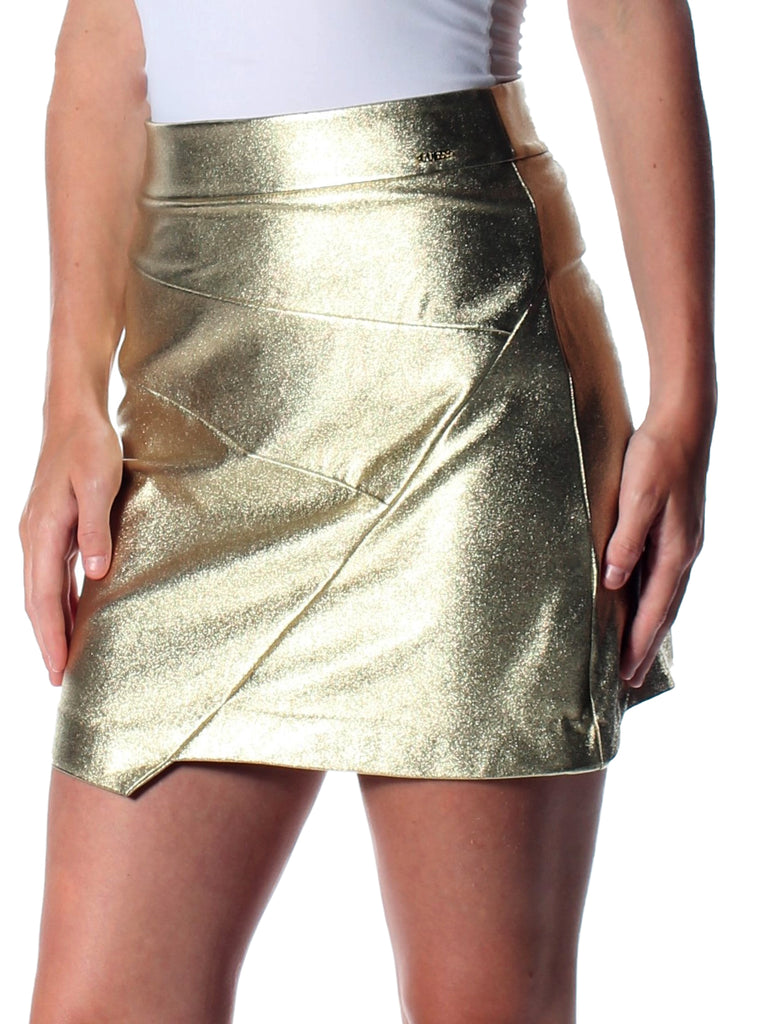 Yieldings Discount Clothing Store's Hester Asymmetrical Metallic Skirt by Guess in Shiny Gold