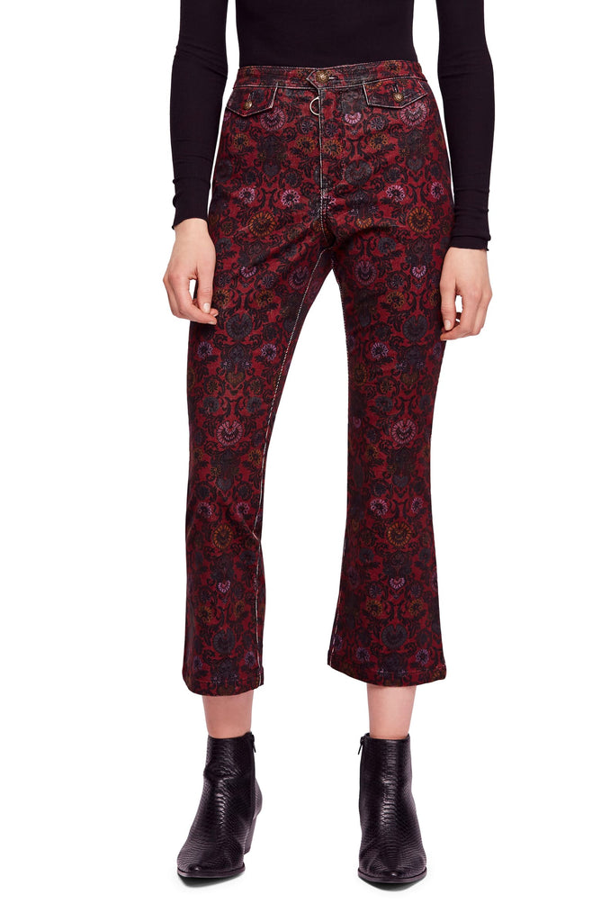 Free People | Corduroy Printed Cropped Jeans