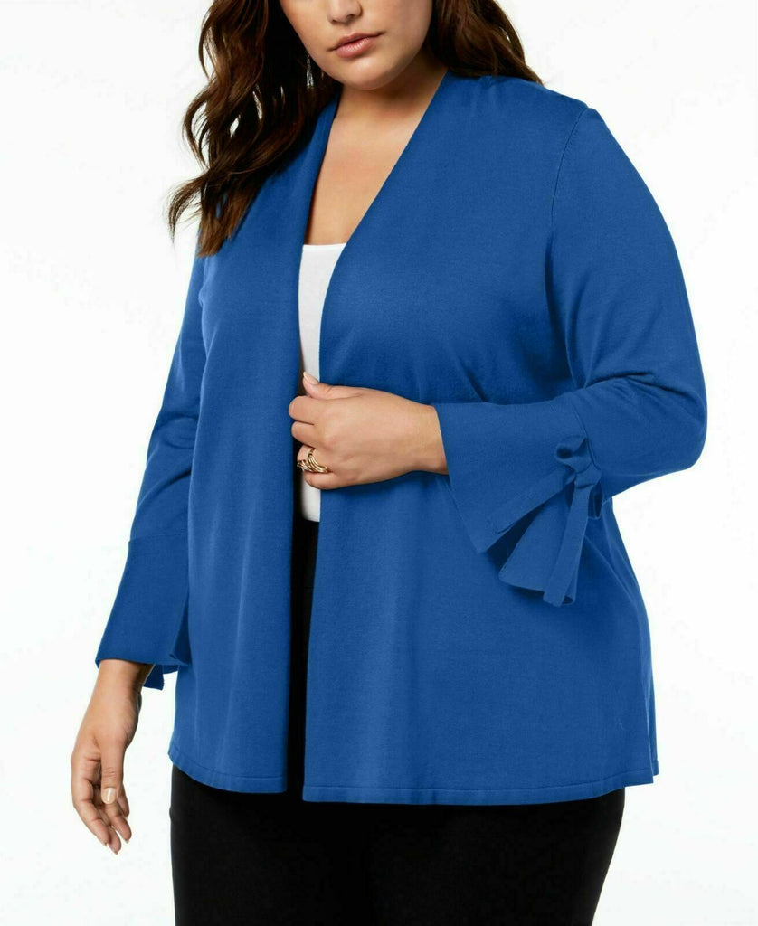 Yieldings Discount Clothing Store's Tie-Sleeve Cardigan by Alfani in Blue Crest