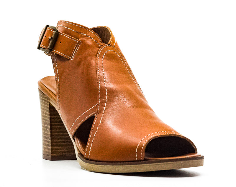 Yieldings Discount Shoes Store's Viv-Italy Leather Block Heel Sandals by Bella Vita in Brown