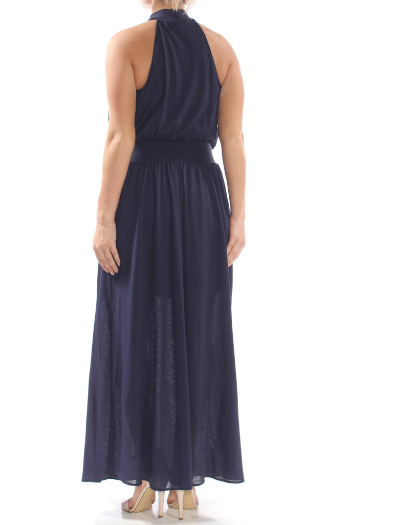 Yieldings Discount Clothing Store's June Blouson Halter Maxi Dress by RACHEL Rachel Roy in True Navy