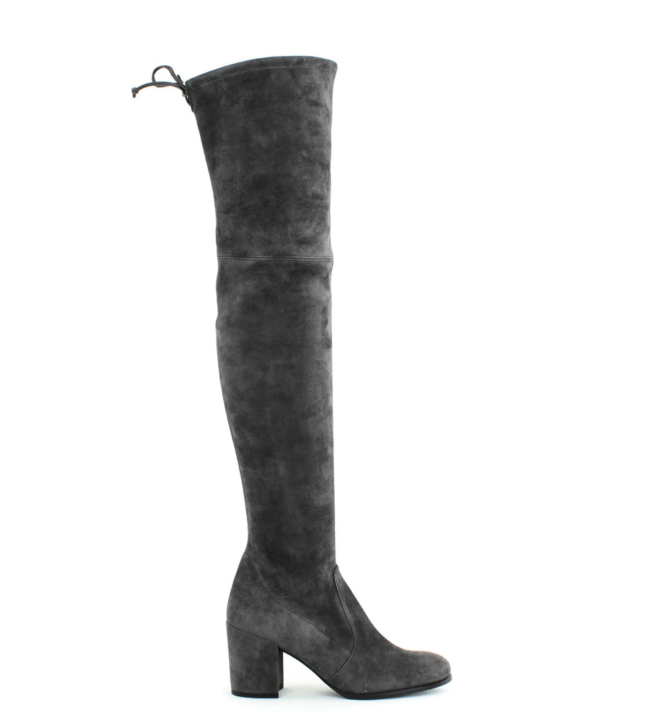 Yieldings Discount Shoes Store's Tieland Block Heel Knee High Boots by Stuart Weitzman in Slate Suede
