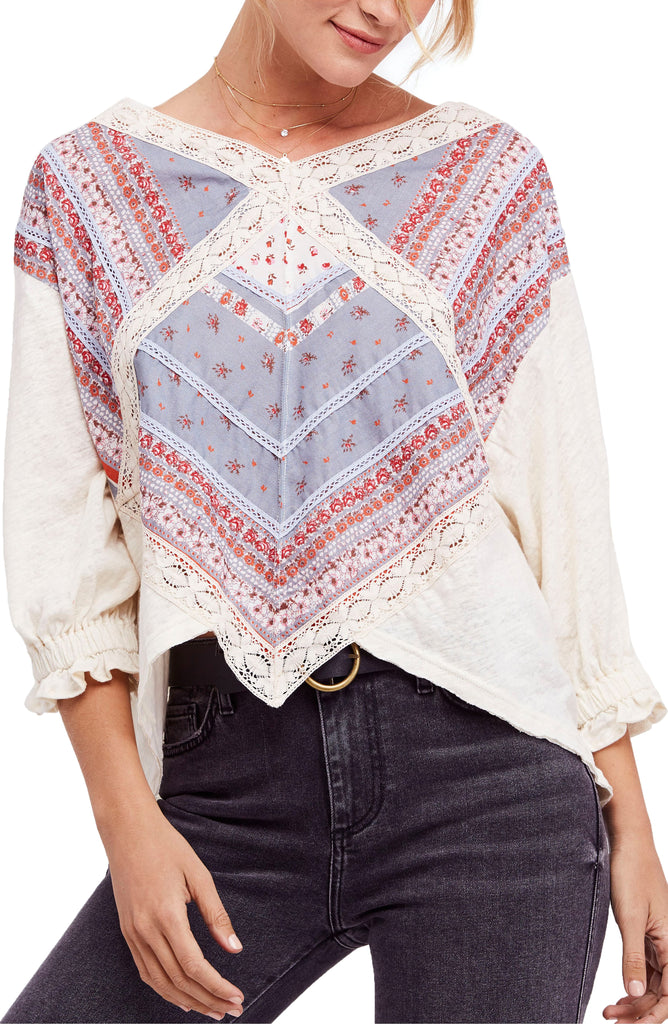 Yieldings Discount Clothing Store's Prairie Days Knit Blouse by Free People in Ivory