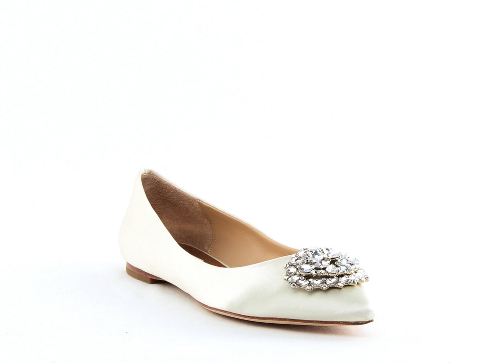 Yieldings Discount Shoes Store's Davis Slip On Flats by Badgley Mischka in Ivory Satin