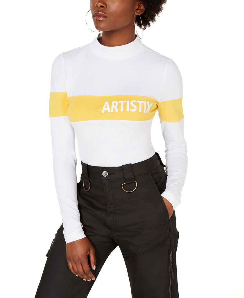 Yieldings Discount Clothing Store's Mock-Neck Graphic Bodysuit by Artistix in White