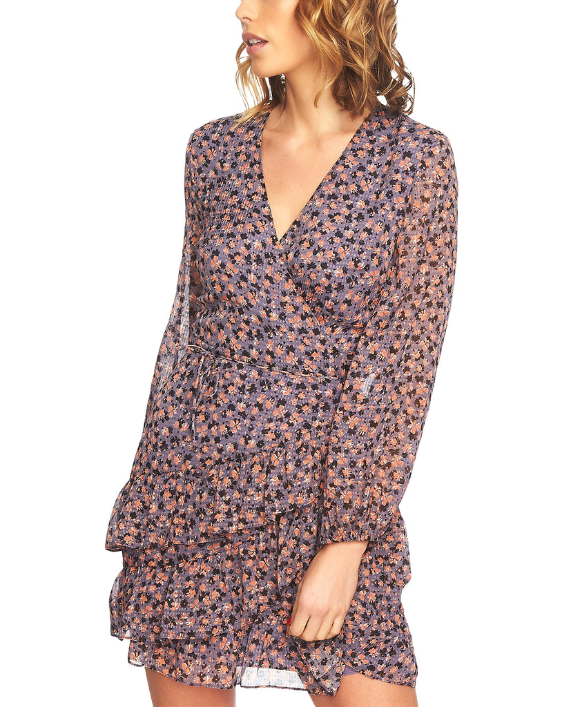 Yieldings Discount Clothing Store's Ruffled Faux-Wrap Dress by 1.State in Iris Shade