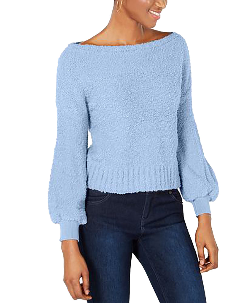 Yieldings Discount Clothing Store's Bishop-Sleeve Textured Sweater by Bar III in Air Blue