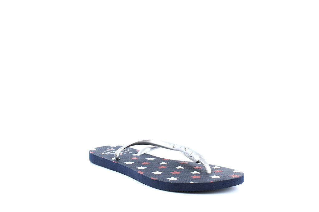 Yieldings Discount Shoes Store's Slim USA Glitter Flip-Flops by Havaianas in Navy Blue