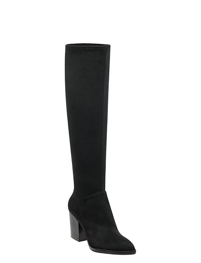 Yieldings Discount Shoes Store's Anata Microsuede Boots by Marc Fisher LTD in Black