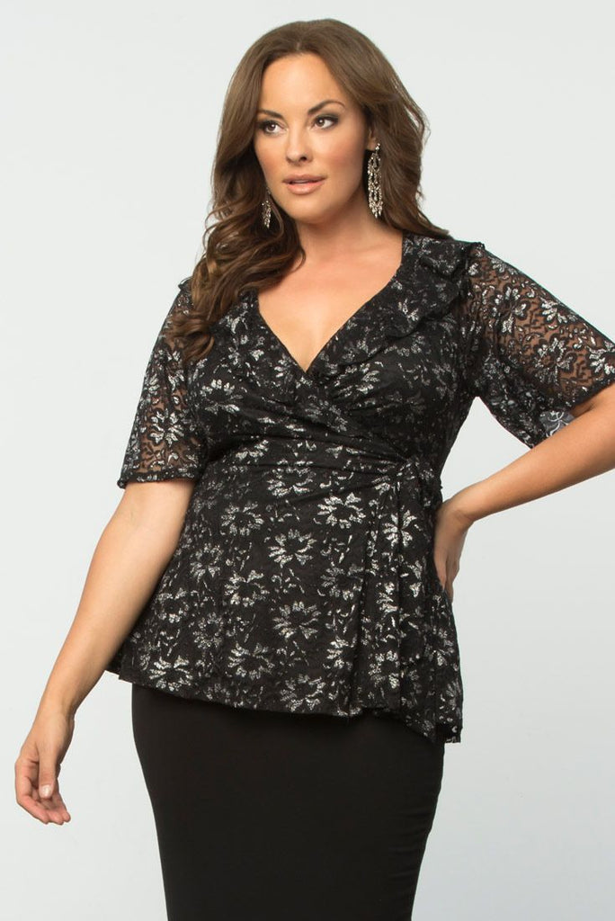 Yieldings Discount Clothing Store's Lustrous Lace Wrap Top by Kiyonna in SPN