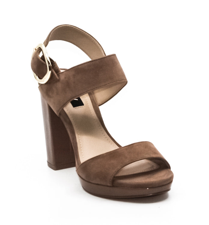 Yieldings Discount Shoes Store's Bell Dip Suede Block Heels by DKNY in Walnut