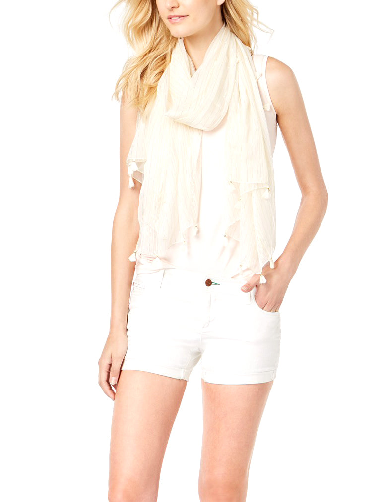 Yieldings Discount Accessories Store's Summer Metallic Wrap & Scarf by INC in White