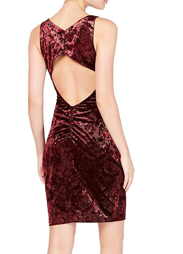 Yieldings Discount Clothing Store's Velvet Burnout Bodycon Dress by Sequin Hearts in Raisin