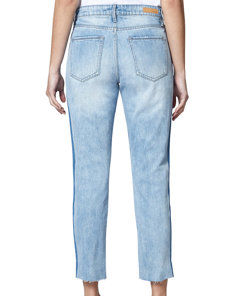 Yieldings Discount Clothing Store's Charli Shadow Stripe High-Rise Straight Leg Jeans by Sanctuary in Lori Wash