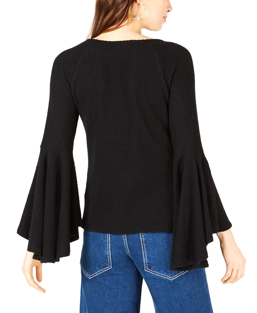 Yieldings Discount Clothing Store's Ribbed-Knit Bell-Sleeve Top by Sage the Label in Black