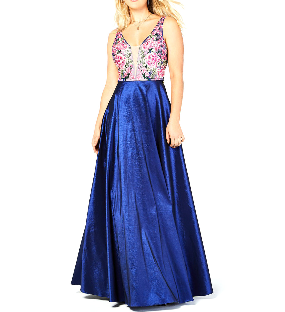 Say Yes To The Prom | Rhinestone Floral-Embroidered Gown