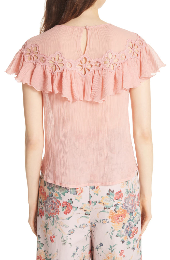 Yieldings Discount Clothing Store's Short Sleeve Pinwheel Top by Rebecca Taylor Inc. in Peony