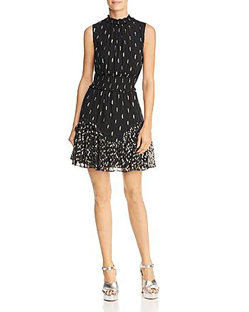 Yieldings Discount Clothing Store's Sleeveless Metallic Ruffle-Hem Dress by Rebecca Taylor in Black