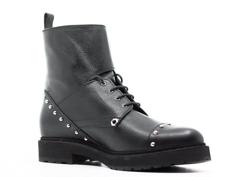 Yieldings Discount Shoes Store's Bug Studded Leather Combat Boots by Fendi in Black