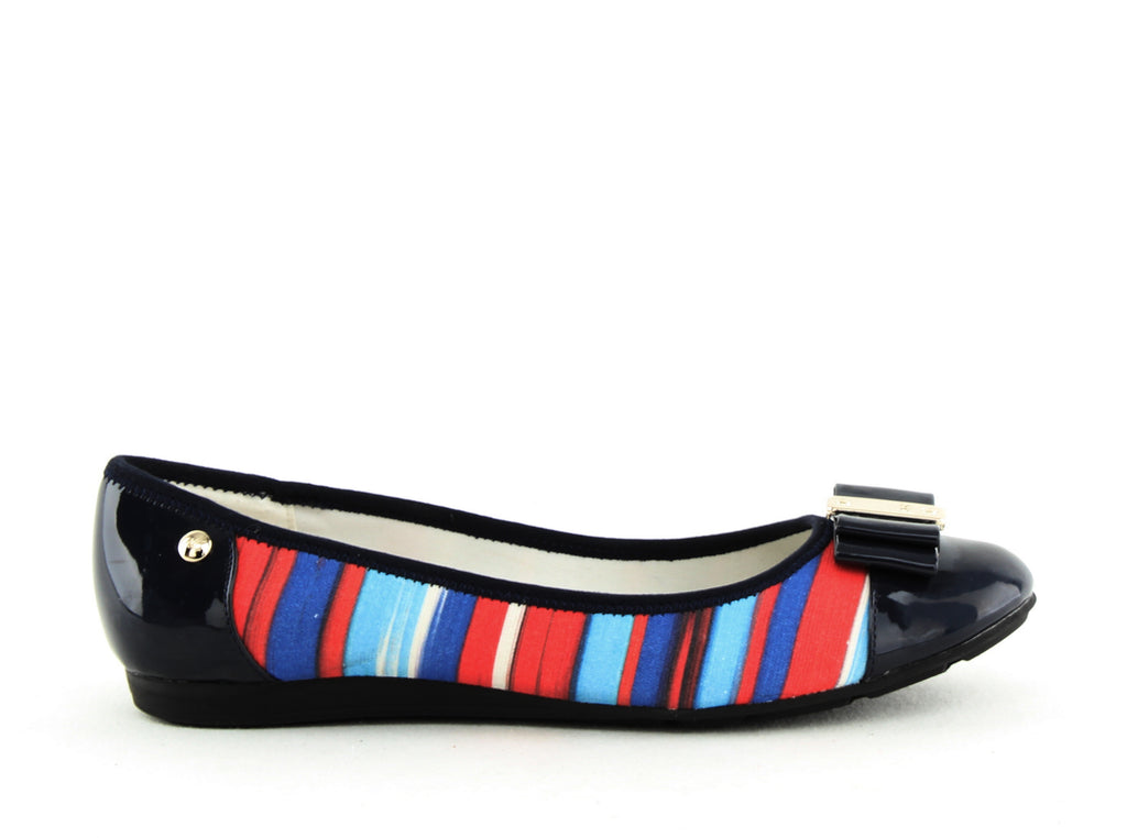 Yieldings Discount Shoes Store's Aricia Striped Ballet Flats by Anne Klein in Blue Multi