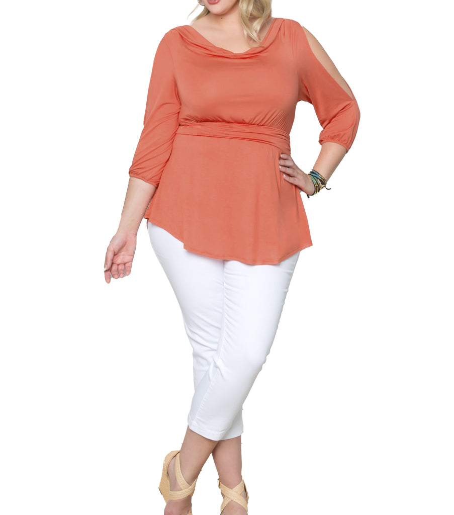 Yieldings Discount Clothing Store's Cayden Cold-Shoulder Top by Kiyonna in Peach