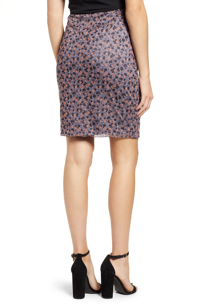 Yieldings Discount Clothing Store's Ditzy Drift Twist Front Mesh Skirt by 1.State in Iris Shade