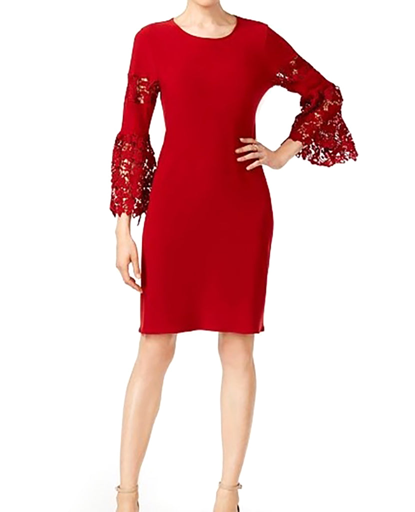 Yieldings Discount Clothing Store's Petite Lace-Sleeve Dress by Alfani in Cherry Bliss