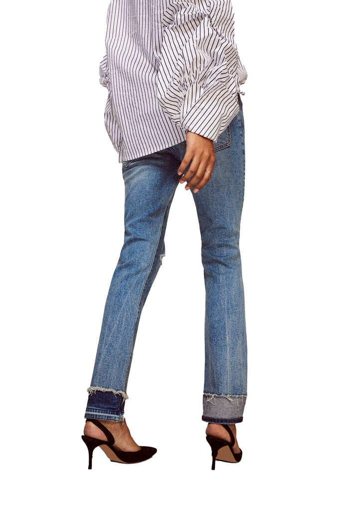 Yieldings Discount Clothing Store's CDG - High Rise Straight Jeans by Warp + Weft in Azure