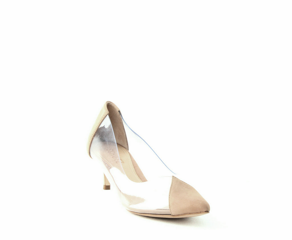 Yieldings Discount Shoes Store's Cyou See-Through Kitten Heels by Schutz in Transparent/Honey Beige
