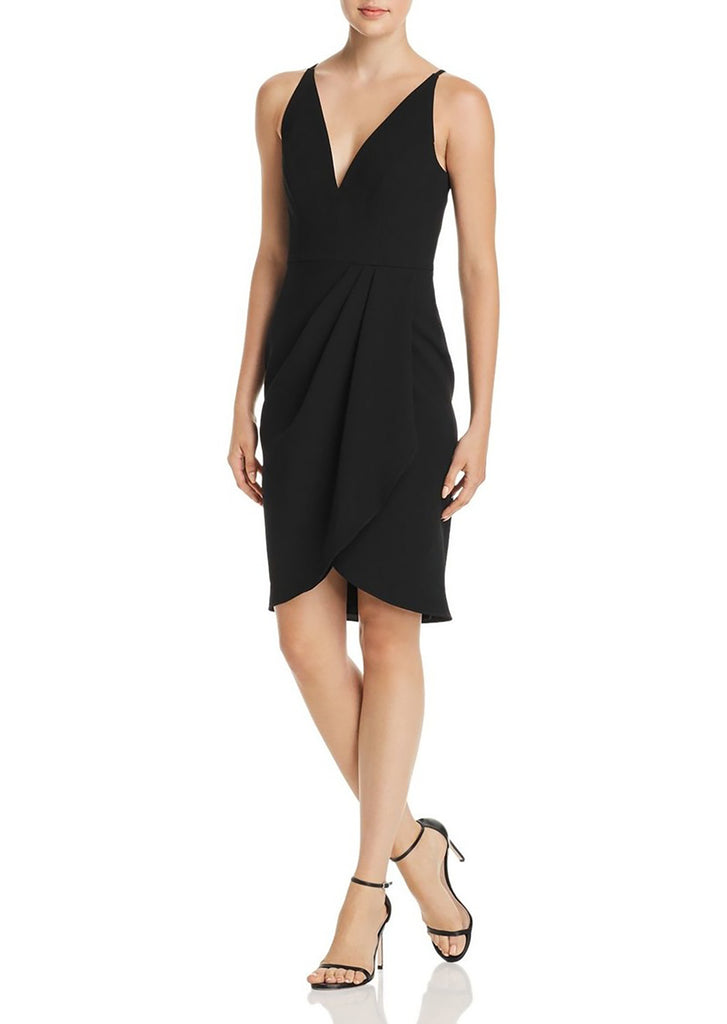 Yieldings Discount Clothing Store's Side-Drape V-Neck Dress by Aqua in Black