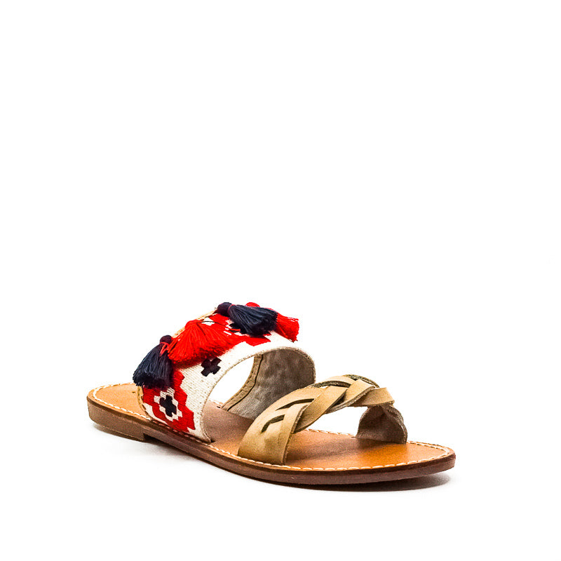 Yieldings Discount Shoes Store's Embroidered Slide Flat Sandals by Soludos in Light Beige