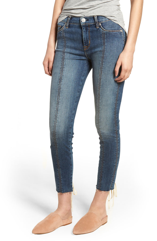 Yieldings Discount Clothing Store's Raw-Hem Skinny Jeans by Hudson in Unfamed