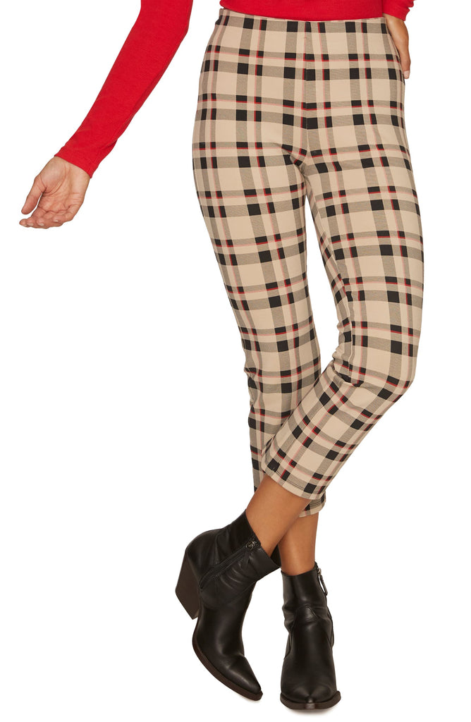 Yieldings Discount Clothing Store's Mod Crop Plaid Leggings by Sanctuary in Champagne Plaid