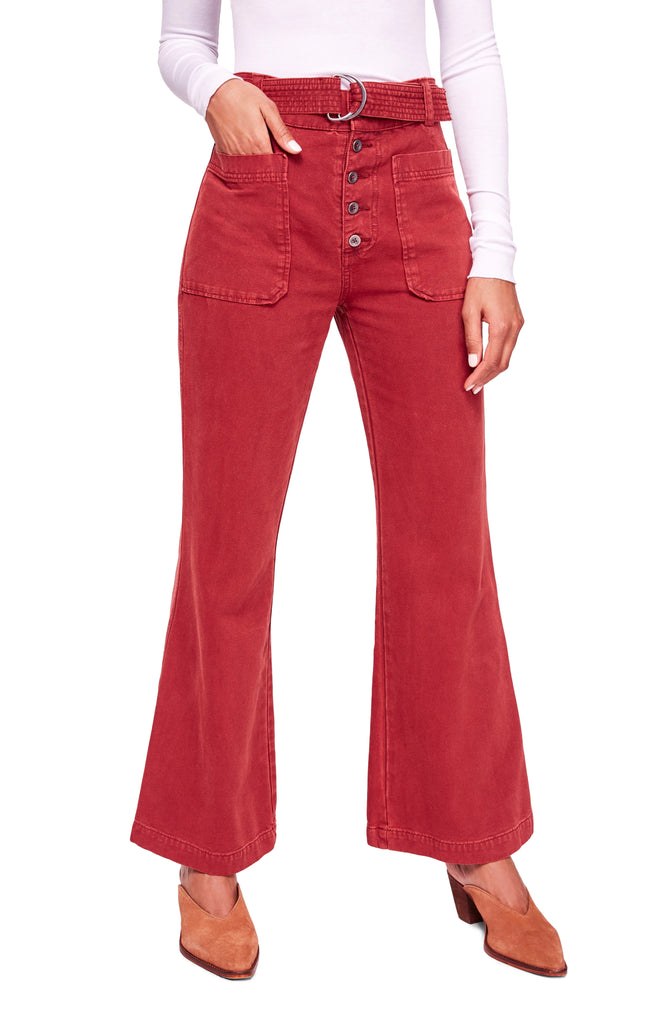 Yieldings Discount Clothing Store's Corin Mod Slim Flare Pants by Free People in Wine