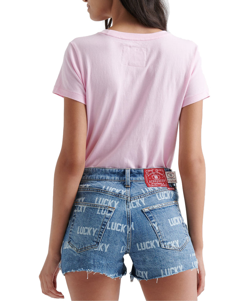 Yieldings Discount Clothing Store's Graphic Short Sleeve Crew Neck T-Shirt by Lucky Brand in Pink