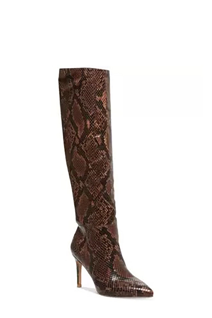 Yieldings Discount Shoes Store's Kimari Boots by Steve Madden in Brown Snake