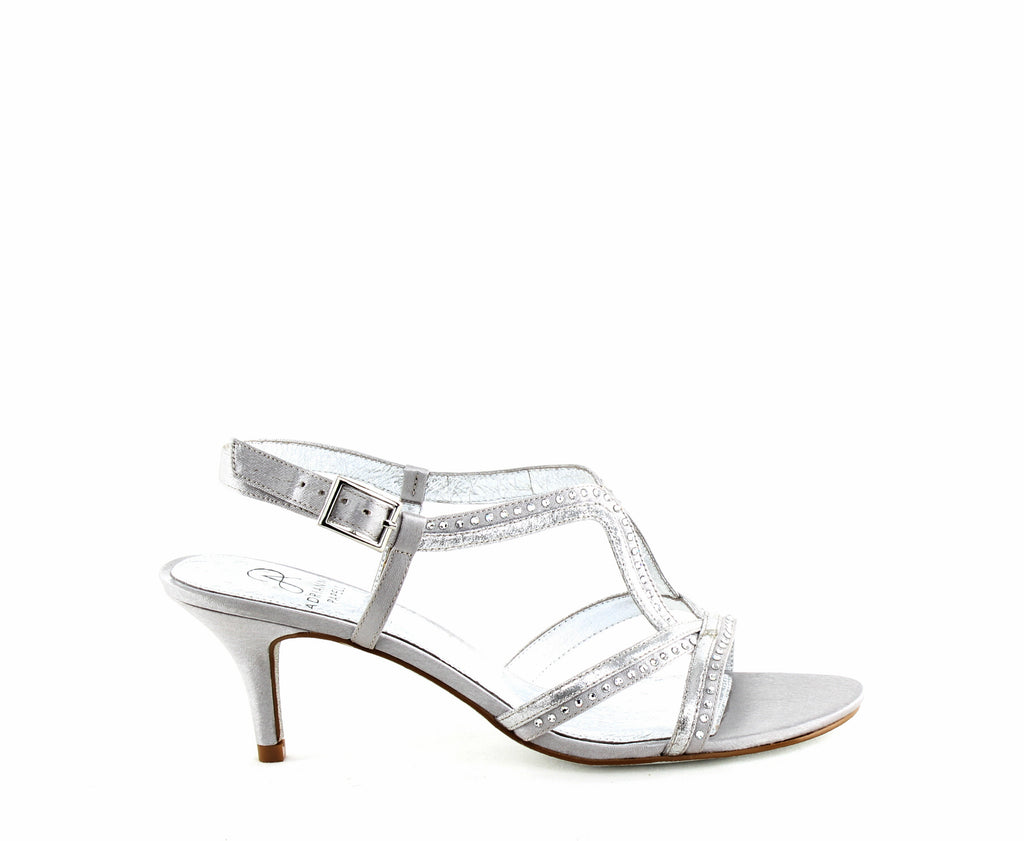Yieldings Discount Shoes Store's Agatha Dress Sandal by Adrianna Papell in Silver Sheena