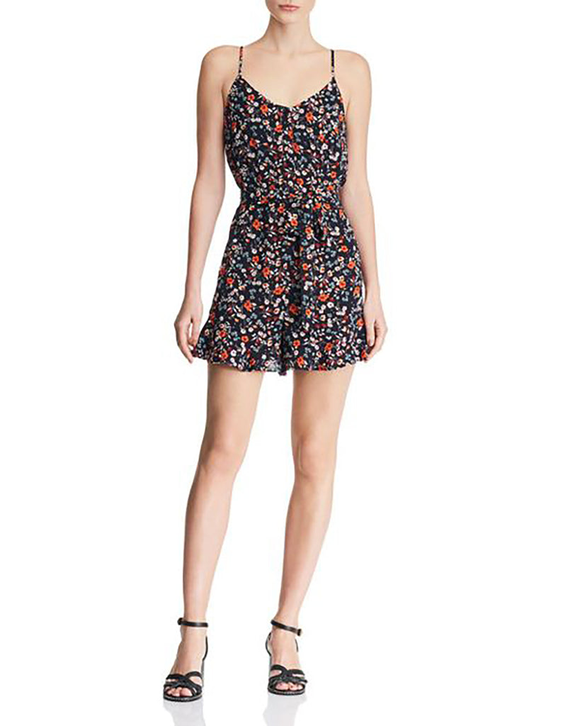 Yieldings Discount Clothing Store's Floral Button-Front Romper by Aqua in Navy
