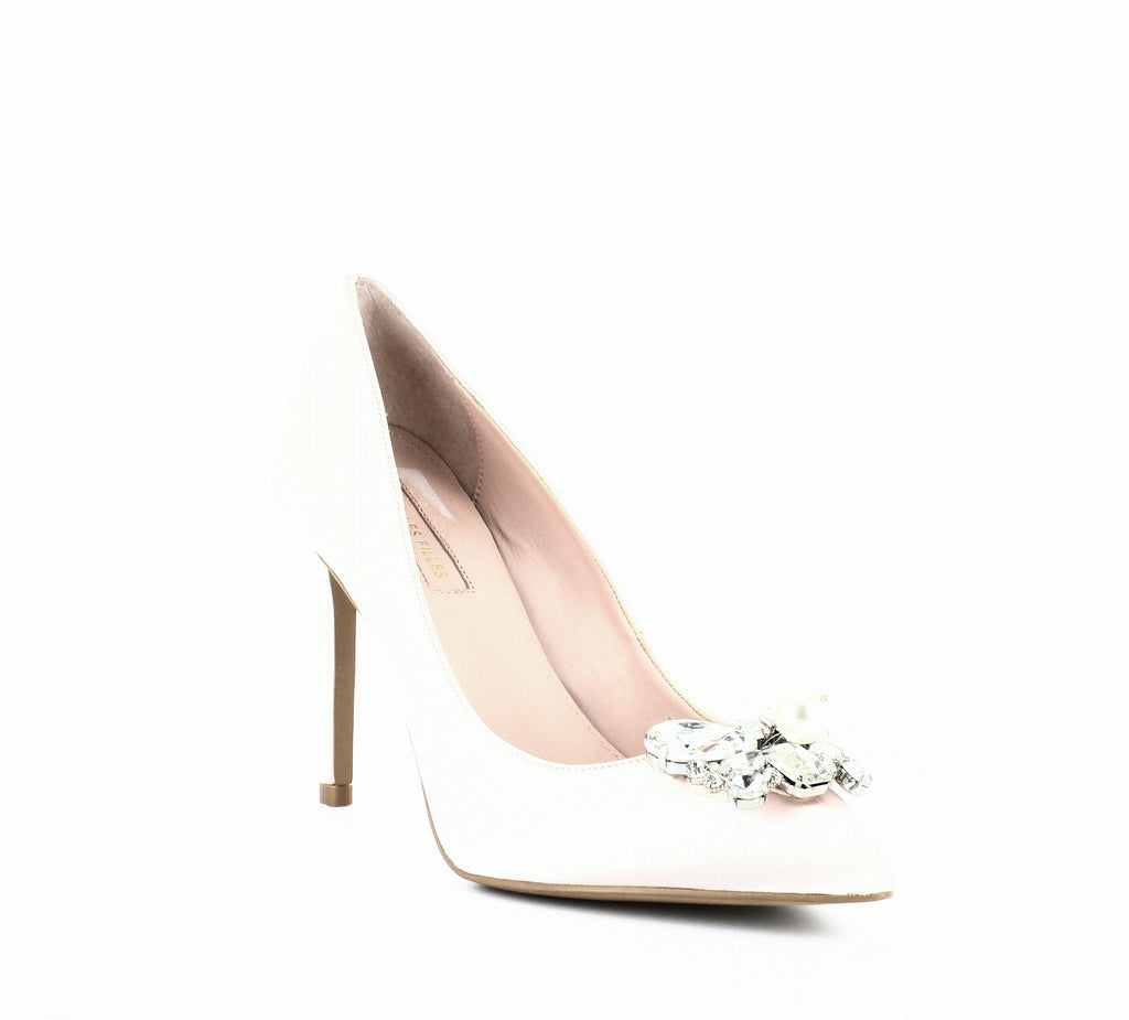 Yieldings Discount Shoes Store's Chiara Satin Pumps by Avec Les Filles in Pink Satin