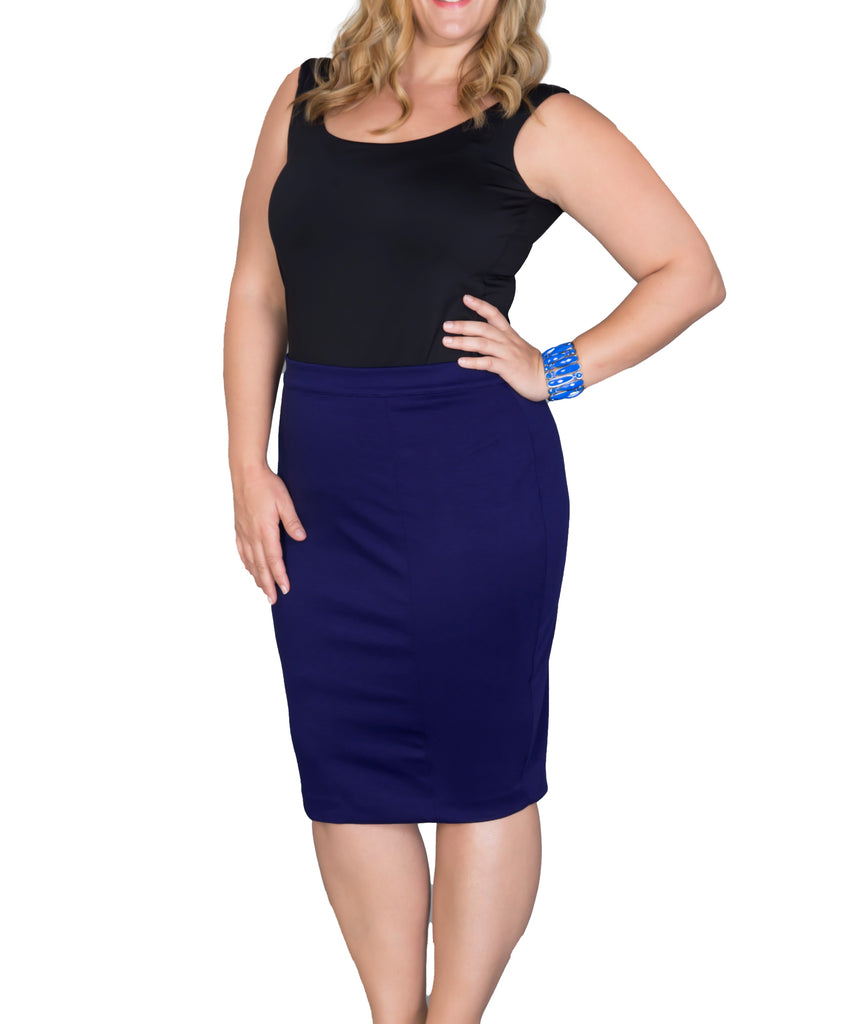 Yieldings Discount Clothing Store's Priscilla Knit Pencil Skirt by Kiyonna in Blue
