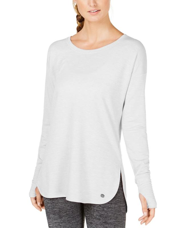 Yieldings Discount Clothing Store's Essential Long-Sleeve Lace-Up Back T-Shirt by Ideology in Bright White